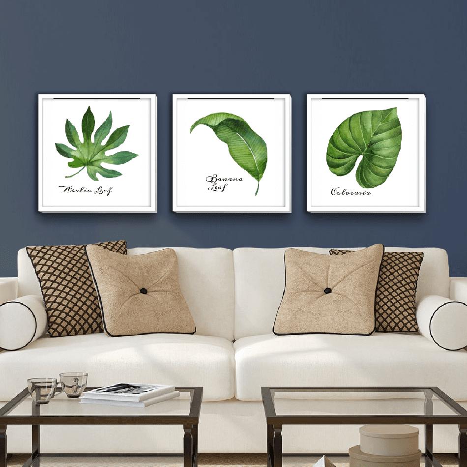 Yapraklar Modern Tablo Seti – 3'lü